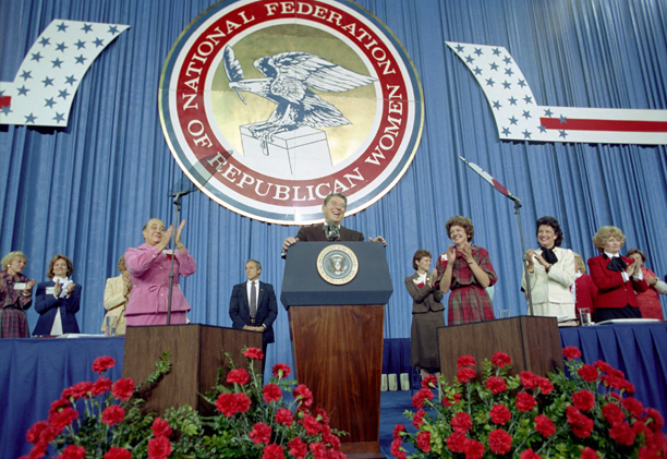 President Ronald Reagan addresses the NFRW 22nd Biennial Convention in 1983.