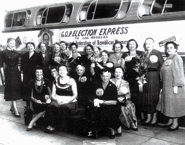 NFRW members prepare for the G.O.P. Election Express bus tour in September 1954.