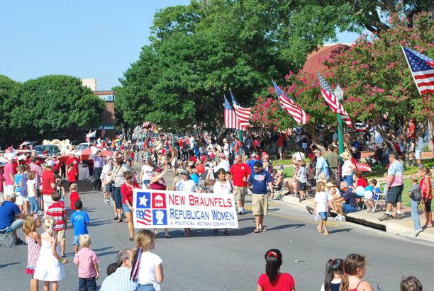 Members of a Republican women's club in Texas participate in a community parade.