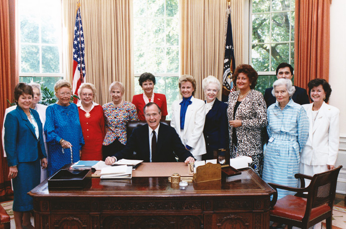 NFRW Capitol Regents with President George H.W. Bush in the Oval Office